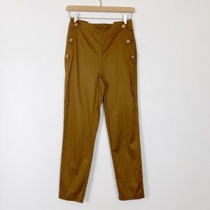 Massimo Dutti high waisted bronze pants gold